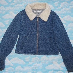 Girls Quilted Jacket with Fur at Collar